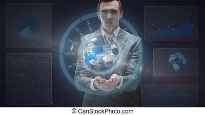 Animation of scope scanning and data processing over businessman holding globe