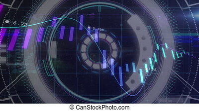 Animation of scope scanning and financial data processing. global business and finance concept digitally generated video.