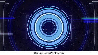 Animation of scope scanning and glowing lines flashing. digital interface global connection and communication concept digitally generated video.