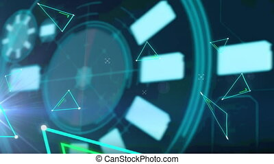Animation of scope scanning and networks of connections. digital interface, connection and communication concept digitally generated video.