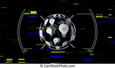 Animation of scope scanning digital globe formed with light bulbs spinning