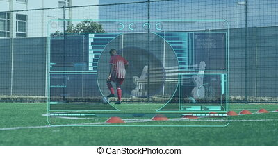 Animation of scope scanning over male football player playing with football on pitch