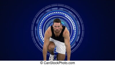 Animation of scopes scanning and data processing with male athlete in starting blocks. global sports, competition technology and digital interface concept digitally generated video.