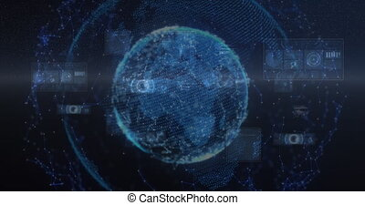 Animation of scopes scanning over network of global connections