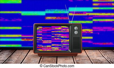 Animation of screen of vintage television set with stripes ...