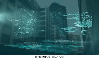 Animation of screens displaying network of connections with buildings in the background