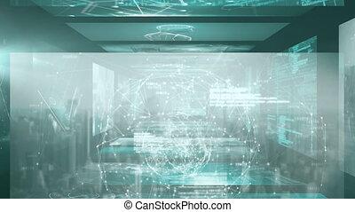 Animation of screens with human eye and CCTV camera digital ...