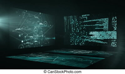 Animation of screens with network connections with digital ...