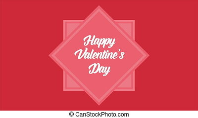 Animation of shape box for greeting happy valentine day