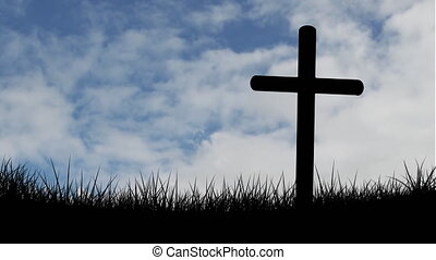 Animation of silhouette of Christian cross over clouds moving on sky in fast motion and meadow in the background. Easter religion faith concept digitally generated image.