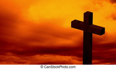 Animation of silhouette of Christian cross over clouds on sky i
