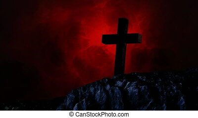 Animation of silhouette of Christian cross over red clouds ...