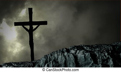 Animation of silhouette of Christian cross over stormy grey clouds, lightning during thunderstorm and rock in the background. Easter religion faith concept digitally generated image.