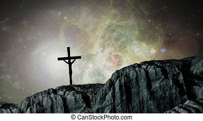Animation of silhouette of Christian cross over universe, ...