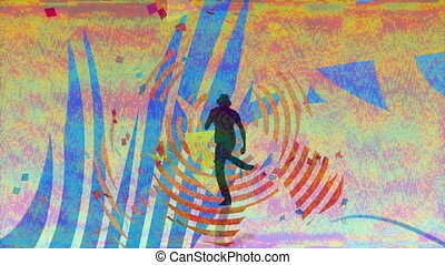 Animation of silhouette of man dancing with glitch stripes ...
