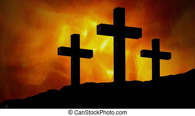 Animation of silhouette of three Christian crosses over ...