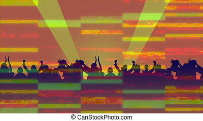 Animation of silhouettes of people dancing with stripes in ...