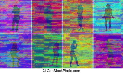 Animation of silhouettes of people exercising with glitch ...
