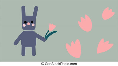 animation of simple easter bunny holding a flower