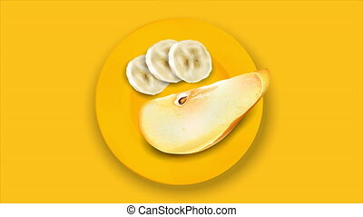 Still life of slices of banana and pear on an orange plate.