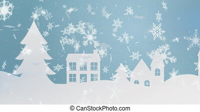 Animation of snow falling over winter scenery with trees and houses on blue background