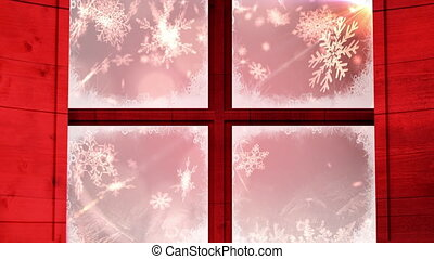Animation of snow falling seen through red window on red background
