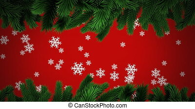 Animation of snow falling with fir tree branches on red background