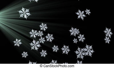 Animation of snowfall with snowflakes falling with spot of ...
