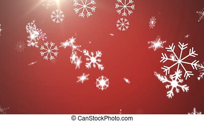 Animation of snowflakes falling with glowing light on red background