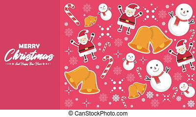 Animation of snowman, Santa Clause, bells, and candy canes...