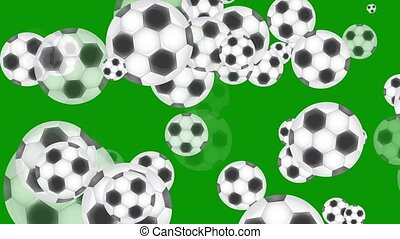 Animation of soccer balls on a green background.