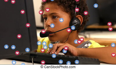 Animation of social media icons flying over a boy during homeschooling. Social distancing and self isolation in quarantine lockdown during coronavirus covid 19 epidemic concept digital composition