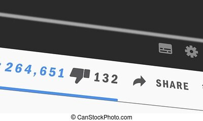 Animation of Social network likes, dislikes reactions and increasing counter on the LCD screen. Close up. Followers Counter. Quick Increasing. Influencer.