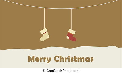 Animation of sock hanging motion. Chirstmas collection