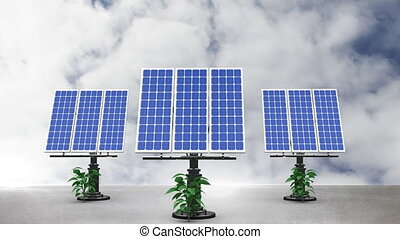 Animation of solar panels with the sky in background