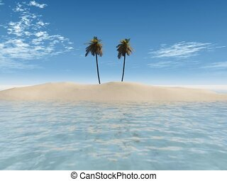 Animation of someone leaving a tropical palm island.
