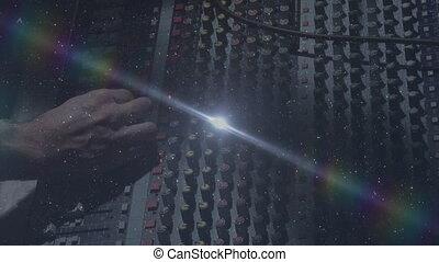 Animation of sound producer adjusting sound equalizer with ...