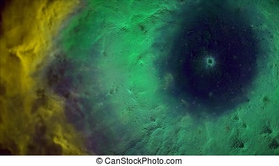 Animation of space flight through yellow and green nebula....