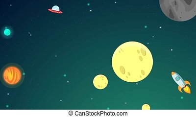 Animation of space green background landscape