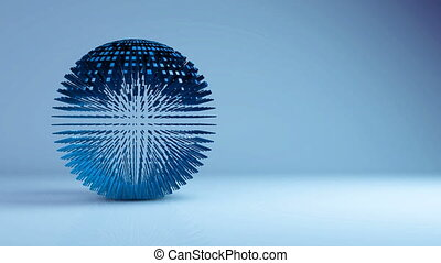 Animation of sphere geometric background - transformation, transition