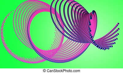 Animation of spheres assembled in a spiral shape and the change in shape over time on a chromakey background