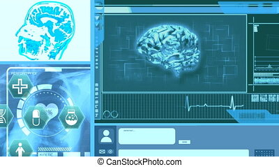 Animation of spinning 3D human brain model cardiogram and digital icons