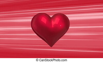 Animation of spinning heart beating on red stripes moving in seamless loop