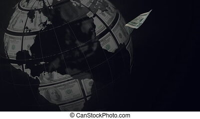 Animation of spinning money earth globe