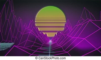 Animation of spinning pink spotlights and topographic map of...