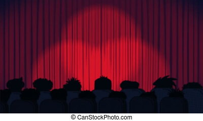 Animation of spotlights moving on red curtains opening and audience in cinema on blue background