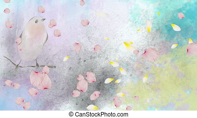 Animation of spring scenery with floating pink flower petals over perched bird in watercolour in the background. Season spring change growth and environment concept digitally generated image.