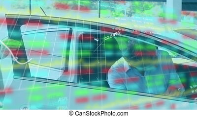 Animation of statistics and data processing over Caucasian man going into a car talking with Caucasi