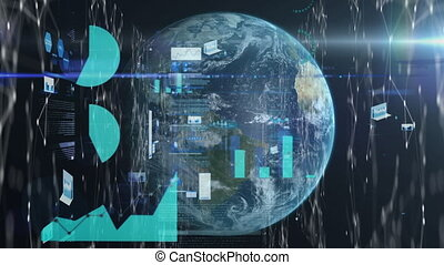 Animation of statistics and data recording over globe. global technology connection communication concept digitally generated image.