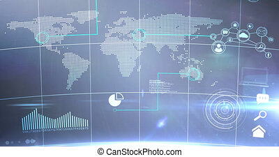 Animation of statistics recording and data processing over world map. digital interface connection and communication concept digitally generated image.